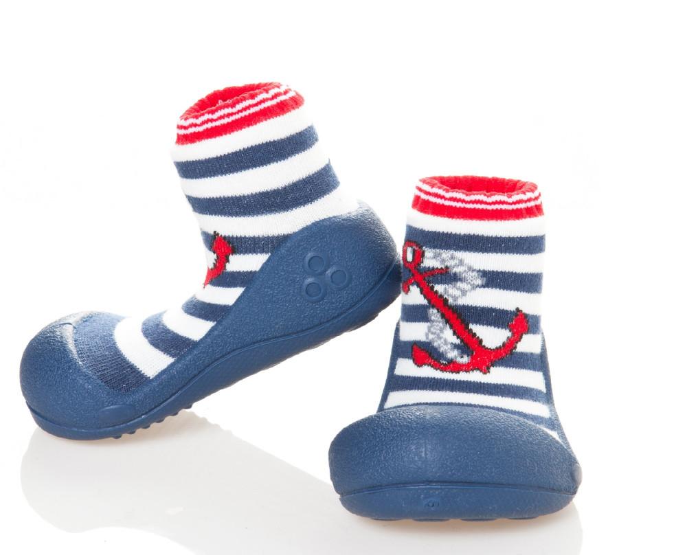 Attipas Marine Rot ergonomische Baby Lauflernschuhe, atmungsaktive Kinder Hausschuhe ABS Socken Babyschuhe Antirutsch