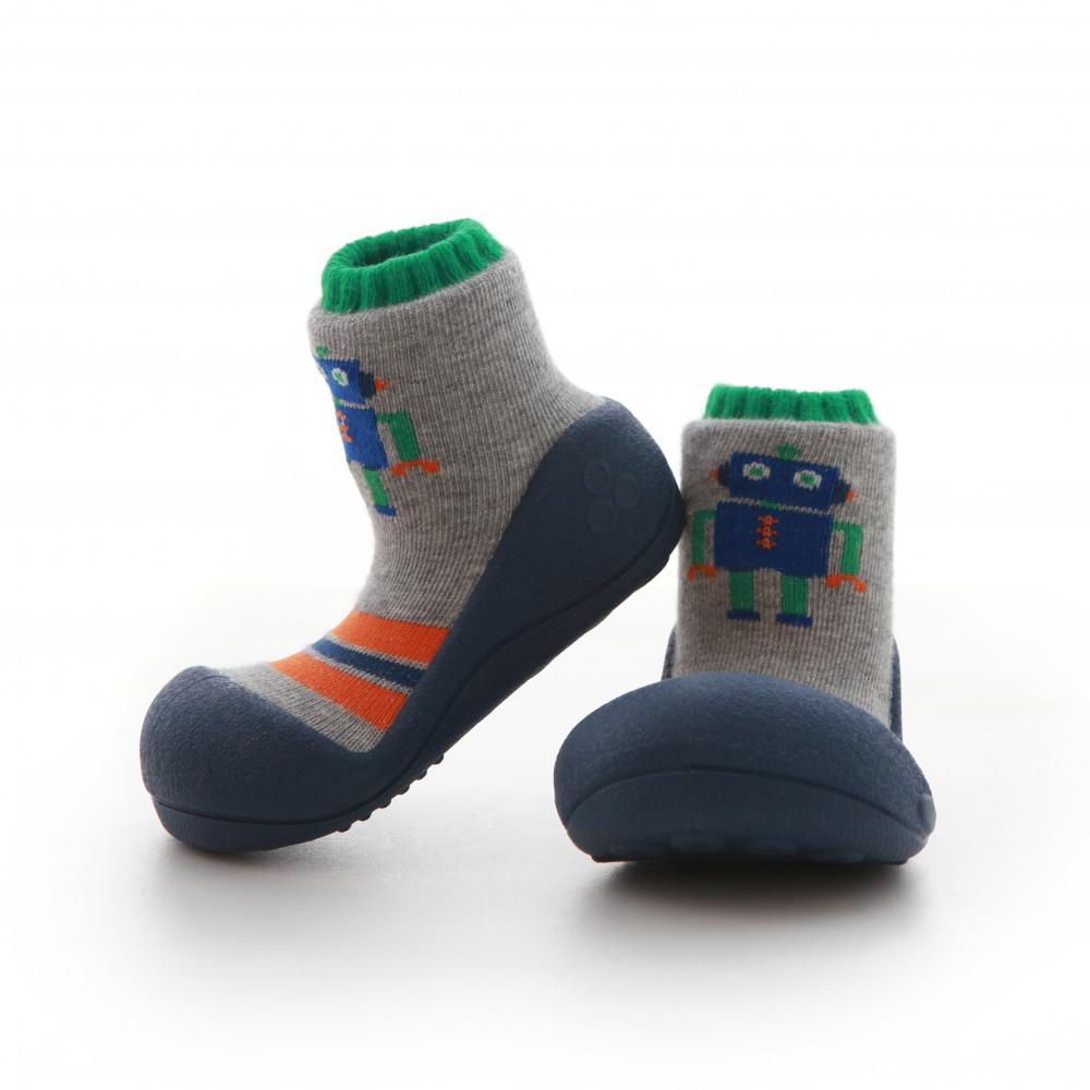 Attipas Robot Blau ergonomische Baby Lauflernschuhe, atmungsaktive Kinder Hausschuhe ABS Socken Babyschuhe Antirutsch