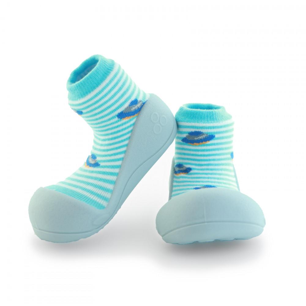Attipas Ufo Blau ergonomische Baby Lauflernschuhe, atmungsaktive Kinder Hausschuhe ABS Socken Babyschuhe Antirutsch